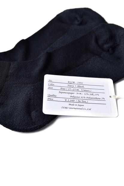 ZERO Silk&Japanesepaper Deodorize Sneaker Socks - Navy x Black