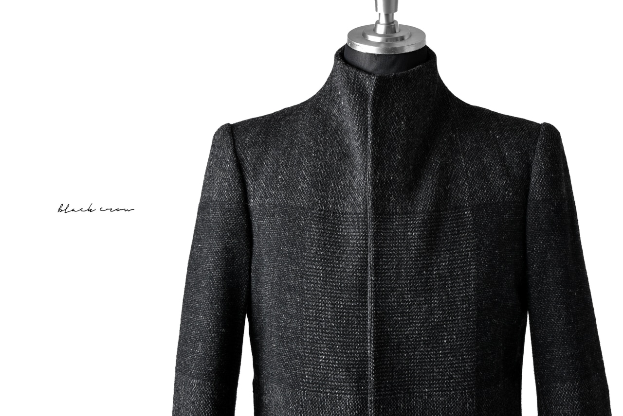 blackcrow standcollar tailorcoat (wool dark check)