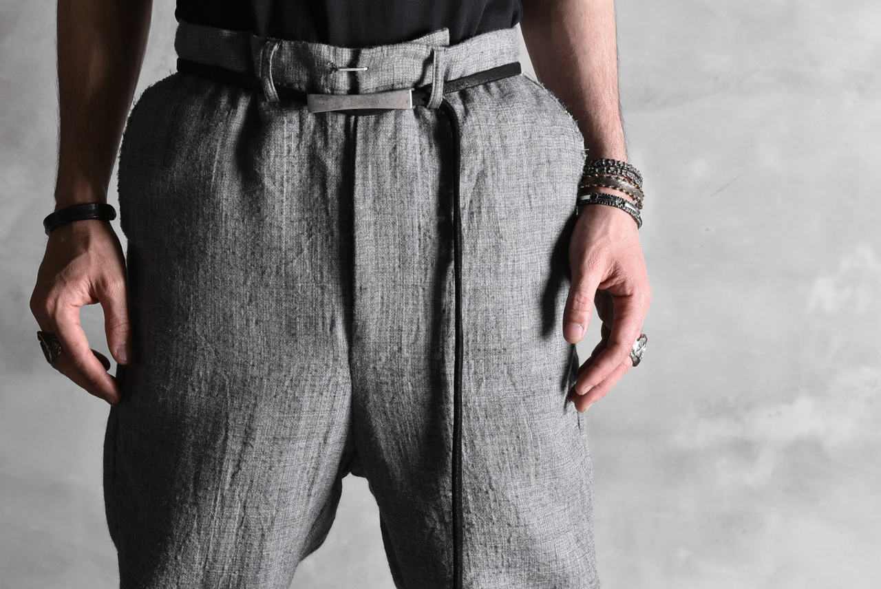 blackcrow double weave semi drop crotch trousers