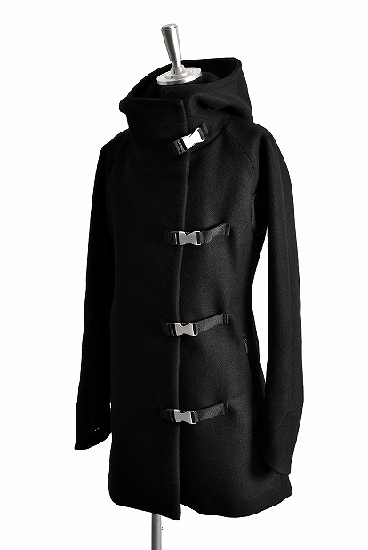 ideal METAL BACKLE STRAP MELTON HOODIE COAT