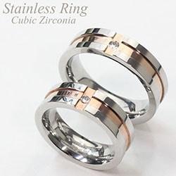 ステンレスリング 指輪 ペアリング クロスラインリング キュービックジルコニア