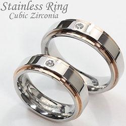 ステンレスリング 指輪 ペアリング ラインリング キュービックジルコニア