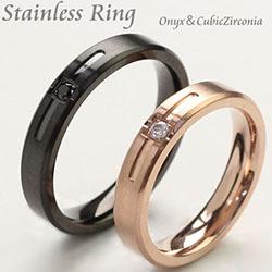ステンレスリング 指輪 ペアリング ブラックオニキス ブラック・ピンクゴールド