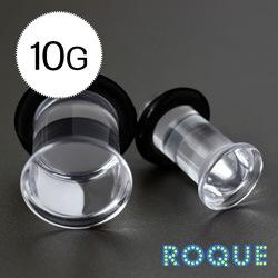 ボディピアス 10G 透明アクリル シングルフレアプラグ
