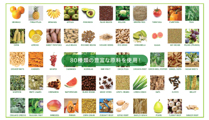 80種類の豊富な原料を使用!!
