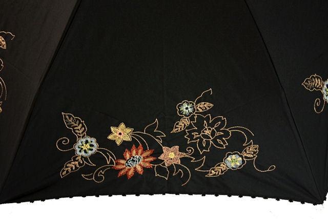 折パラ 花柄刺しゅう 黒
