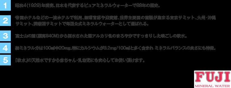 富士ミネラルウォーターの特徴