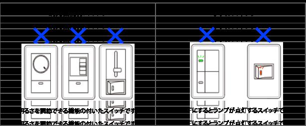 調光機能付きのスイッチとホタルスイッチの説明