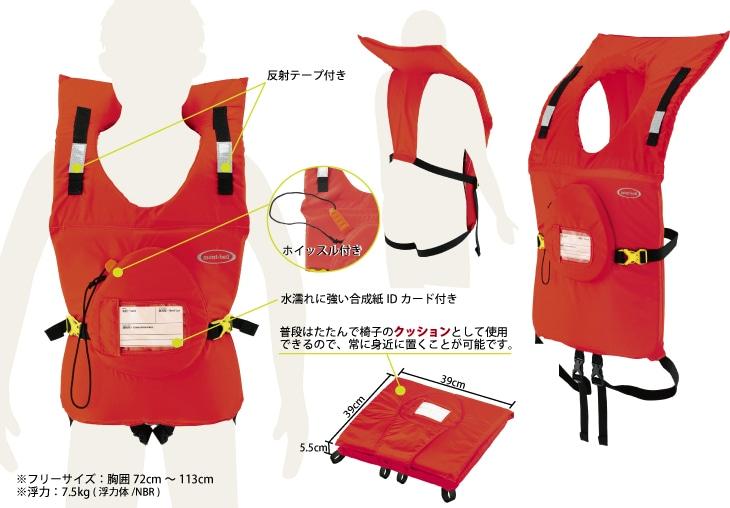 311東日本大震災・津波を契機に開発されたライフジャケット|普段は家庭・職場で椅子クッションとして使用、常に身近に備えるライフジャケット(緊急用ホイッスル付属・本体には装着手順がプリントされており初心者でも着脱が簡単にできます)