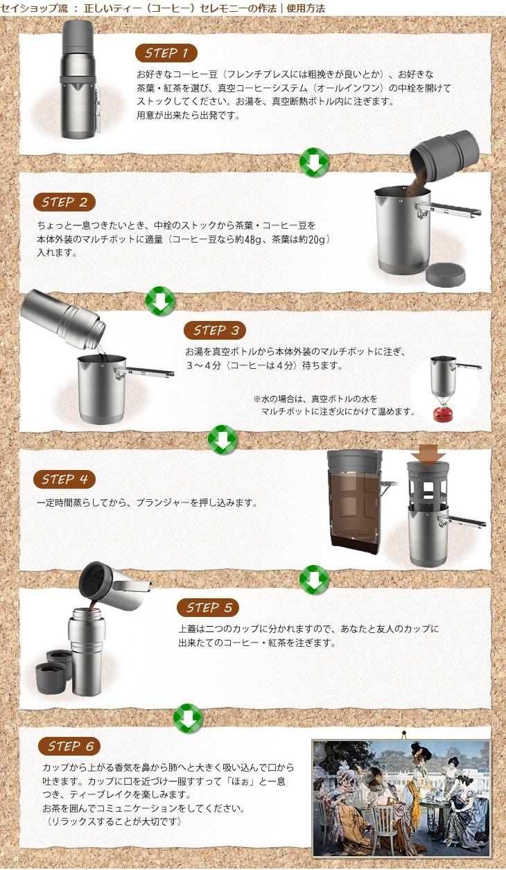 スタンレー(STANLEY)の真空コーヒーシステム(オールインワン)1リットル セイショップ流 正しいティー(コーヒー)セレモニーの作法(使い方図解)