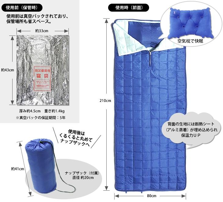 真空パックで省スペースに保管でき、担架にもなるオフィス用の寝袋(圧縮布団)。空気枕で快眠。使用後は丸めてナップザックへ。断熱シートで保温力アップ