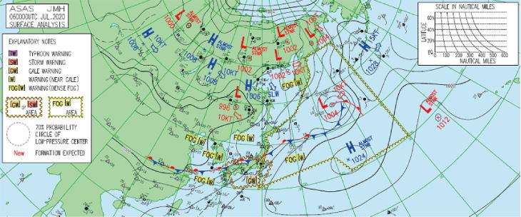 梅雨前線の天気図(気象庁 2020年7月6日)