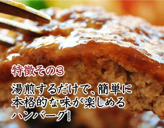 その3 湯煎するだけで、簡単に本格的な味が楽しめるハンバーグ!