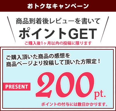 ご購入いただいた商品の感想を商品ページより投稿していただいた方限定!200ポイントプレゼント