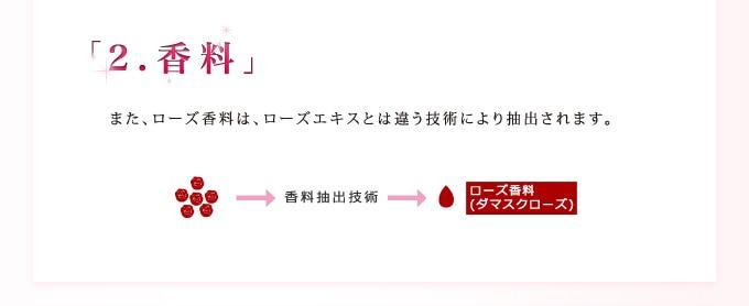 【2.香料】また、ローズ香料は、ローズエキスとは違う技術により抽出されます。