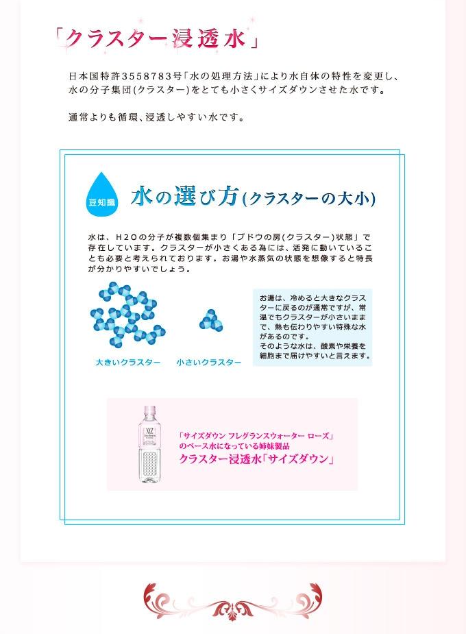 【クラスター浸透水】日本国特許3558783号「水の処理方法」により水自体の特性を変更し、水の分子集団(クラスター)をとても小さくサイズダウンさせた水です。通常よりも循環、浸透しやすい水です。【豆知識】水の選び方(クラスターの大小) 水は、H2Oの分子が複数個集まり「ブドウの房(クラスター)状態」で存在しています。クラスターが小さくある為には、活発に動いていることが必要と考えられております。お湯や水蒸気の状態を想像すると特長が分かりやすいでしょう。お湯は、冷めると大きなクラスターに戻るのが通常ですが、常温でもクラスターが小さいままで、熱も伝わりやすい特殊な水があるのです。そのような水は、酸素や栄養を細胞まで届けやすいと言えます。 サイズダウン フレグランスウォーター ローズのベース水になっている姉妹製品 クラスター浸透水「サイズダウン(SizeDown)」