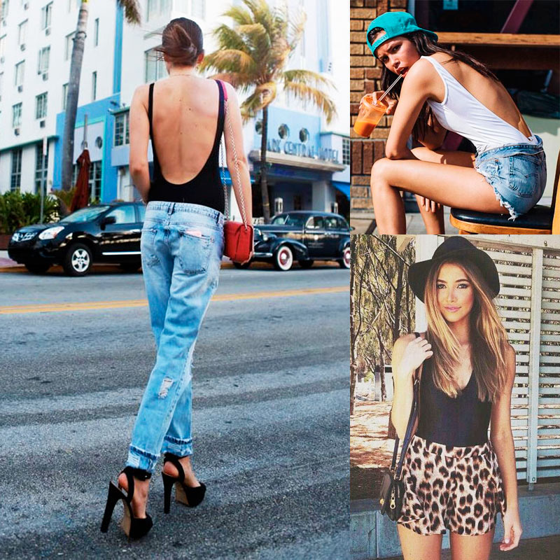ワンピース水着のストリートファッション