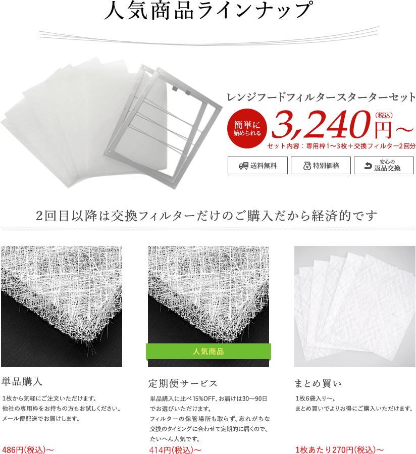 レンジフードフィルターフィルター商品ラインナップ 簡単に始められる換気扇フィルタースターターセットは4,320円から 交換用の換気扇フィルターは1枚あたり270円から