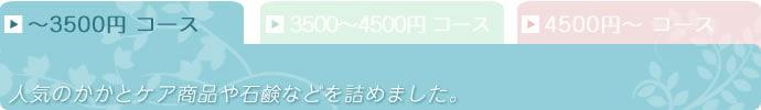〜3500円コース 人気のかかとケア製品や石鹸などを詰め合わせました。