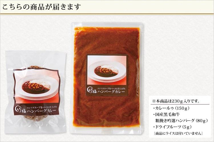 肉の宝石より生まれたコンソメスープをベースに仕上げた ハンバーグカレー(230g)