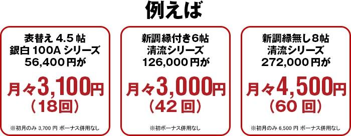 例えば表替え4.5帖銀白100Aシリーズ56,400円が月々3,100円(18回)