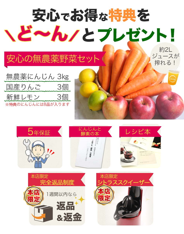とーんと特典プレゼント(無農薬にんじん3kg、特別栽培りんご3個、レモン3個、5年保証、にんじんと酵素の本、レシピ本、完全返品制度、スクイーザー)