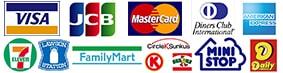 取扱カード(VISA,MasterCard,JCB,AMERICAN EXPRESS,DC)