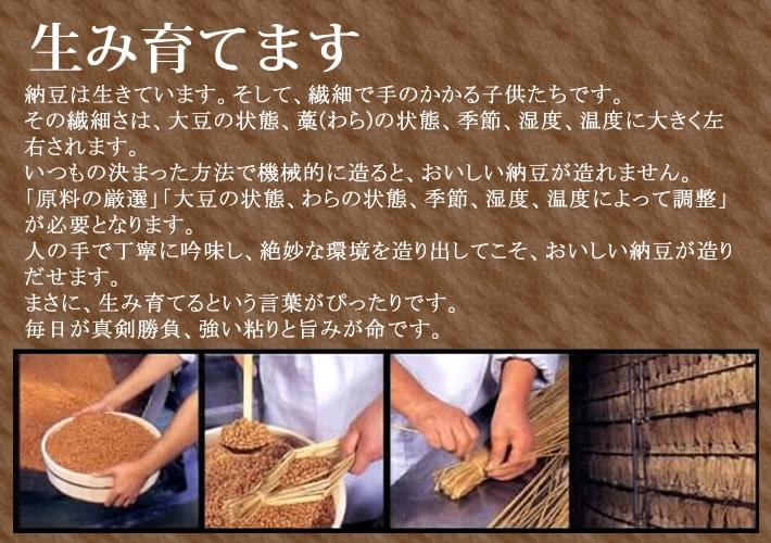 「生み育てます」納豆は生きています。そして、繊細で手のかかる子供たちです。その繊細さは、大豆の状態、藁(わら)の状態、季節、湿度、温度に大きく左右されます。いつもの決まった方法で機械的に造ると、おいしい納豆が造れません。「原料の厳選」「大豆の状態、わらの状態、季節、湿度、温度によって調整」が必要となります。人の手で丁寧に吟味し、絶妙な環境を造り出してこそ、おいしい納豆が造りだせます。まさに、生み育てるという言葉がぴったりです。毎日が真剣勝負、強い粘りと旨みが命です。