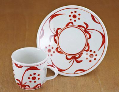 砥部焼 コーヒーカップ 赤太陽