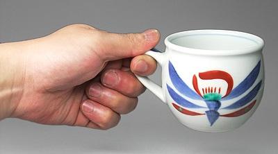 梅山窯 朱花文のコーヒーカップ