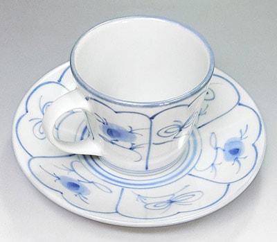 梅山窯 なずな文 コーヒーカップ