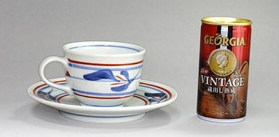 梅山窯 三つ葉文の反りコーヒーカップ