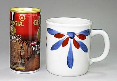 砥部焼 梅山窯 切立マグカップ ごす朱菊