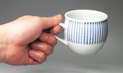 砥部焼 梅山窯 丸ミルクカップ 十草文
