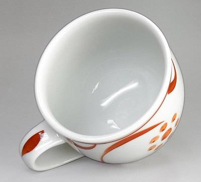 梅山窯 丸ミルクカップ 朱太陽文