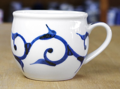 梅山窯 丸ミルクカップ 細唐草