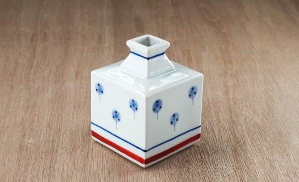 砥部焼 梅山窯 ミニ角瓶小(たんぽぽ)