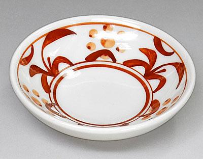 梅山窯 3寸小皿 朱太陽