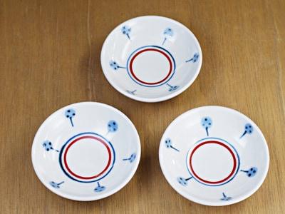 砥部焼き 梅山窯 3寸丸小皿 たんぽぽ