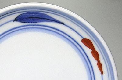 砥部焼 梅山窯 4.6寸丸皿 朱ペン
