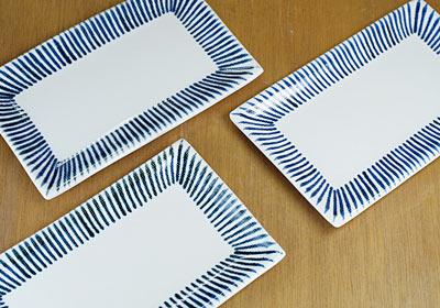 和食器 角皿 十草 手描き