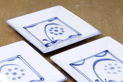 角銘々皿 太陽 手描き
