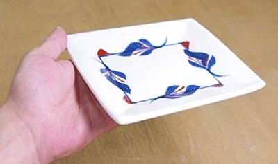 砥部焼き 梅山窯 5寸布目角皿