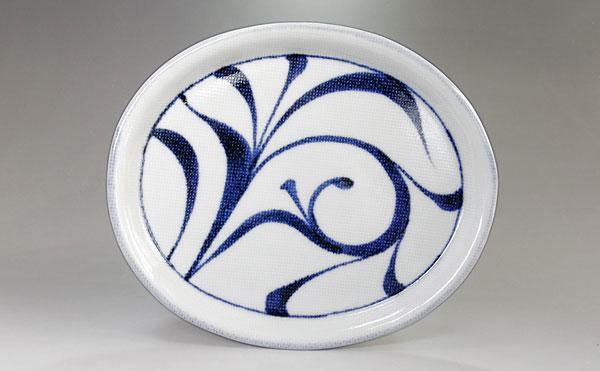 和食器 楕円皿 唐草文