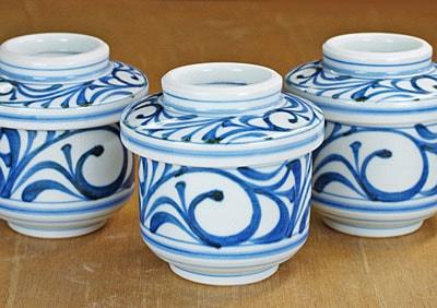 砥部焼 梅山窯 茶碗蒸し碗 唐草