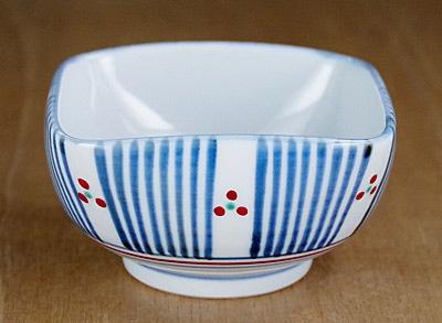 梅山窯 4方鉢 十草三つ文