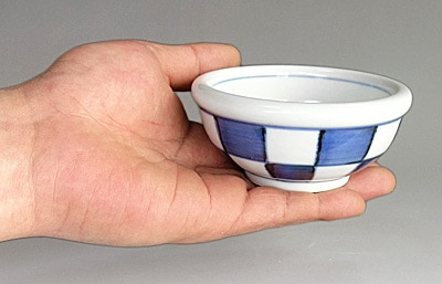 砥部焼 梅山窯 3寸玉縁鉢 市松