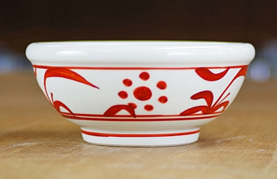 砥部焼き 4寸玉縁鉢 赤太陽