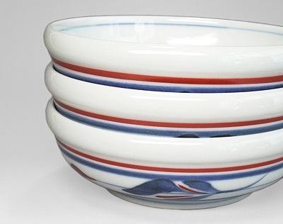 梅山窯 三つ葉文 玉縁鉢