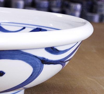 砥部焼き 梅山窯 8寸玉縁鉢
